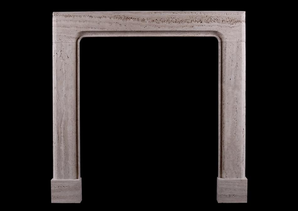 An architectural bolection fireplace