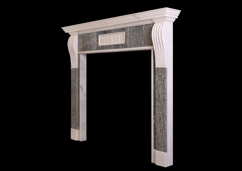 A Statuary and Vert d'Estours green marble fireplace