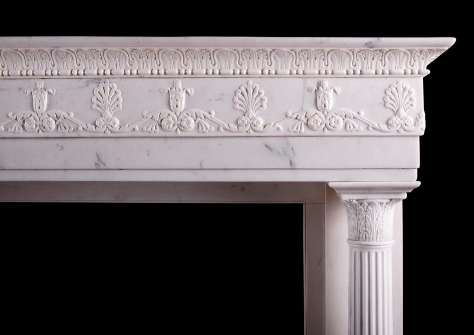 A period Regency fireplace in Statuary white marble