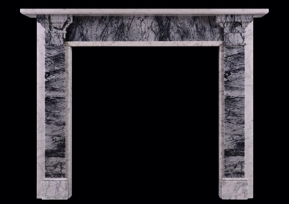 A Carrara and Bardiglio marble fireplace