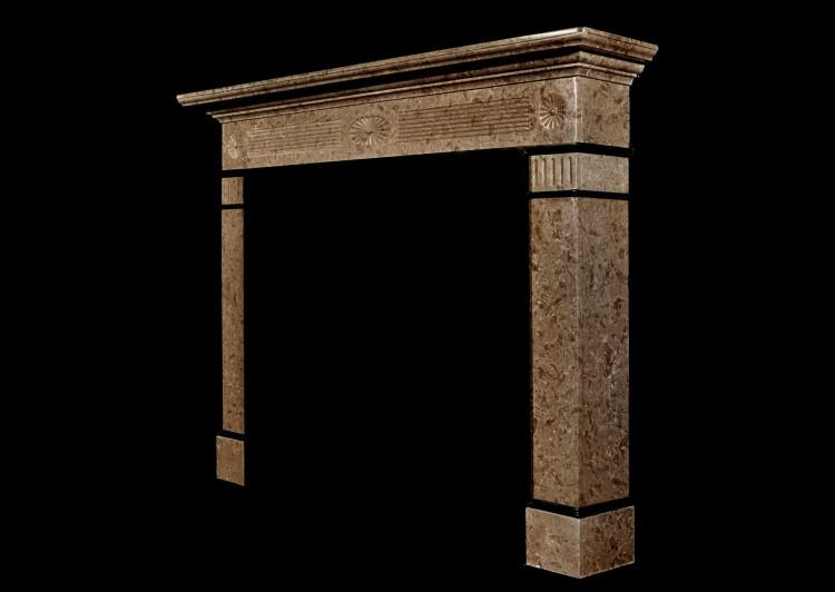 A 19th century English coloured marble fireplace