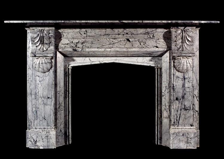 A 19th century English Victorian Dove Grey marble mantelpiece
