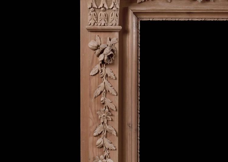 AN ENGLISH PINE FIREPLACE WITH CARVED FRUIT AND FOLIAGE-Detail2