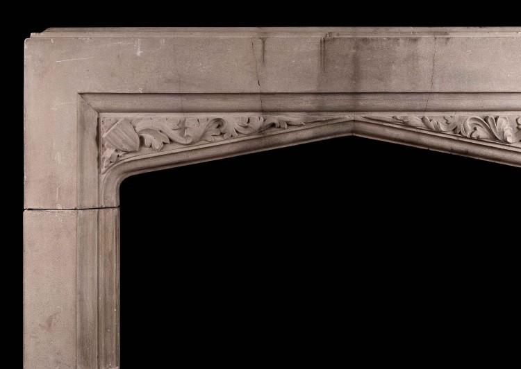 AN ENGLISH CAST STONE FIREPLACE IN THE GOTHIC STYLE-Detail1