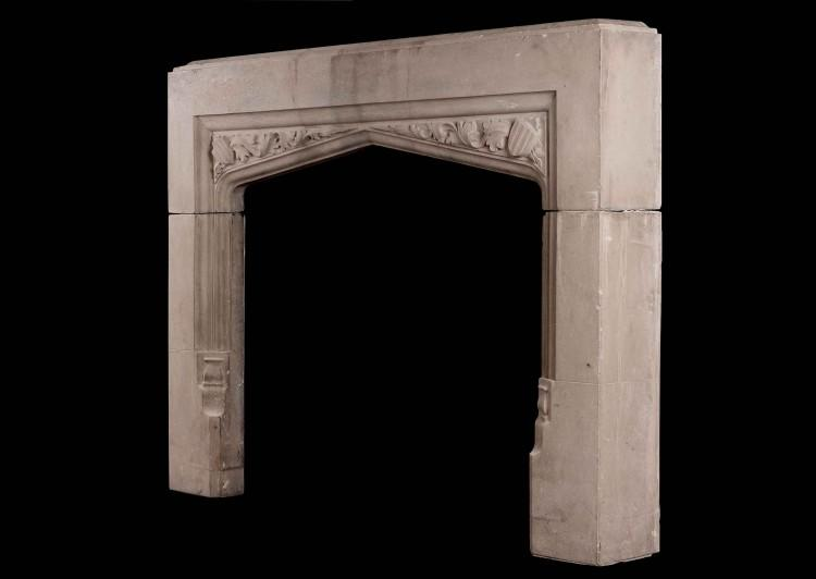AN ENGLISH CAST STONE FIREPLACE IN THE GOTHIC STYLE-Detail2