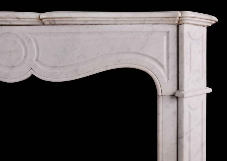 A 19TH CENTURY FRENCH POMPADOUR FIREPLACE IN CARRARA MARBLE-Detail1
