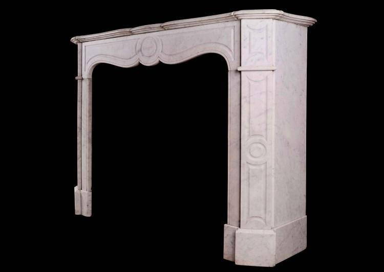 A 19TH CENTURY FRENCH POMPADOUR FIREPLACE IN CARRARA MARBLE-Detail2