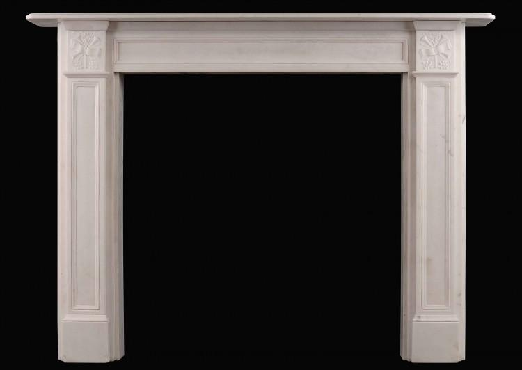 An English Regency Style Statuary Marble Fireplace