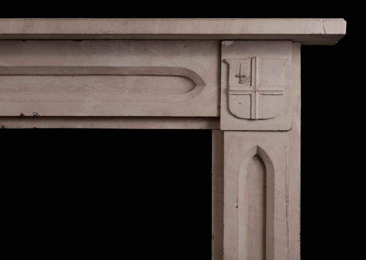 AN ENGLISH STONE FIREPLACE IN THE GOTHIC STYLE-Detail1