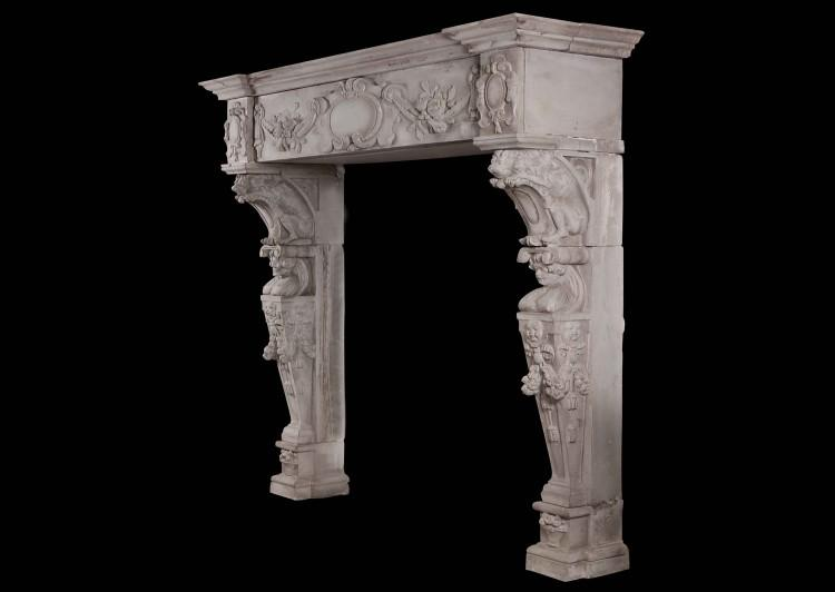 A CARVED STONE RENAISSANCE FIREPLACE, 19TH CENTURY-Detail6