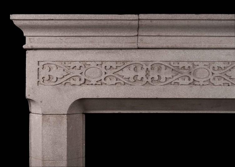 AN ENGLISH RECONSTITUTED STONE FIREPLACE IN THE GOTHIC STYLE-Detail1
