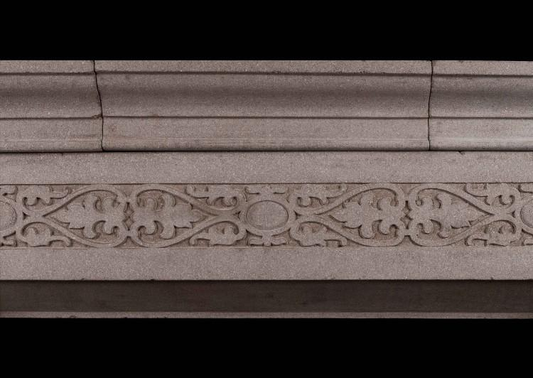 AN ENGLISH RECONSTITUTED STONE FIREPLACE IN THE GOTHIC STYLE-Detail2