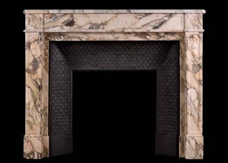 A FINELY CARVED LOUIS XVI ANTIQUE CHIMNEYPIECE IN BRECHE MARBLE