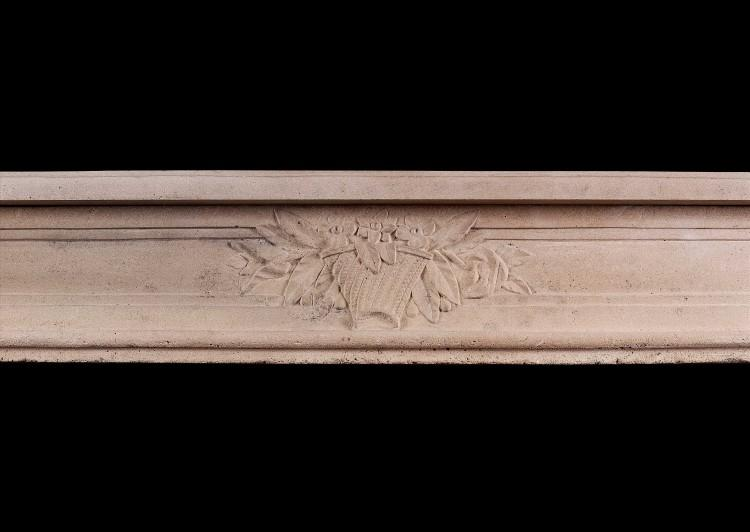 A FRENCH LOUIS XVI STYLE CARVED LIMESTONE FIREPLACE-Detail2
