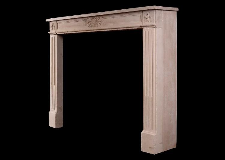 A FRENCH LOUIS XVI STYLE CARVED LIMESTONE FIREPLACE-Detail3