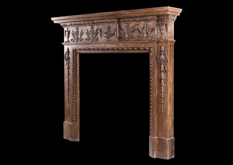 AN ENGLISH CARVED WOOD FIREPLACE IN THE LATE GEORGIAN STYLE-Detail3