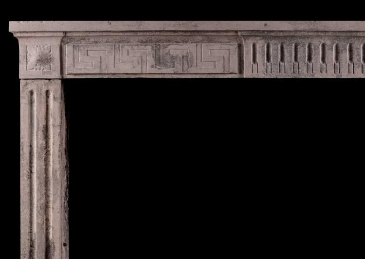 A RUSTIC 18TH CENTURY LOUIS XVI FIREPLACE WITH GREEK KEY MOTIF-Detail1