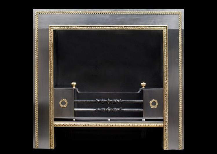 A Regency style steel and brass Register grate
