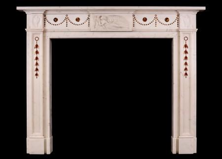 A FINE QUALITY ENGLISH STATUARY ANTIQUE MARBLE FIREPLACE