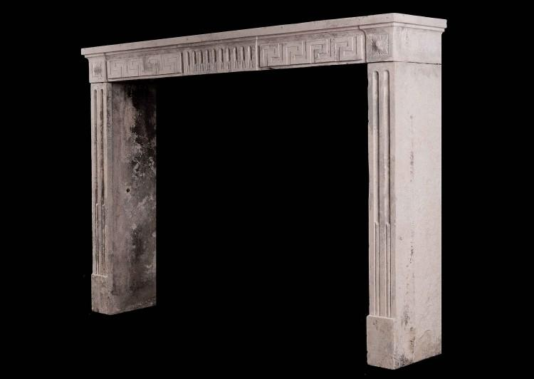 A RUSTIC 18TH CENTURY LOUIS XVI FIREPLACE WITH GREEK KEY MOTIF-Detail2