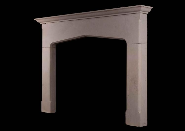 AN ENGLISH BATH STONE FIREPLACE IN THE GOTHIC MANNER-Detail2