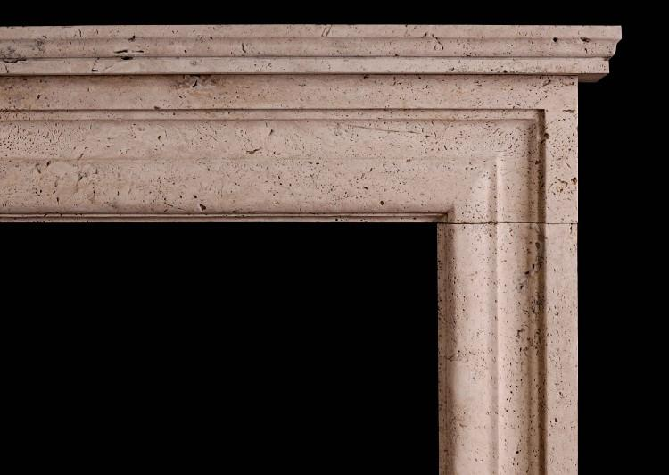 AN IMPOSING ENGLISH BOLECTION FIREPLACE IN TRAVERTINE STONE-Detail1