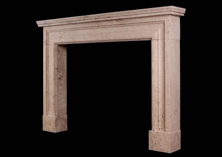 AN IMPOSING ENGLISH BOLECTION FIREPLACE IN TRAVERTINE STONE-Detail2