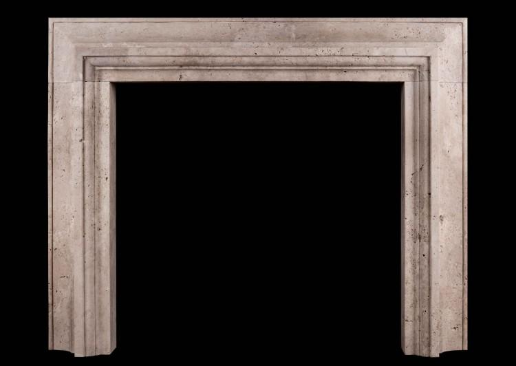 A Stylish Italian fireplace in Travertine stone