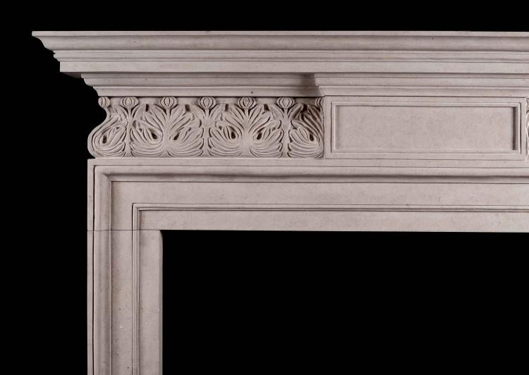 A GEORGE II STYLE PORTLAND STONE FIREPLACE WITH CARVED FRIEZE-Detail1