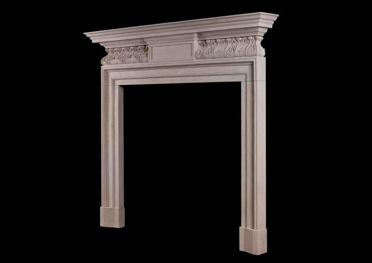 A GEORGE II STYLE PORTLAND STONE FIREPLACE WITH CARVED FRIEZE-Detail2