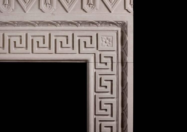 A LARGE ITALIAN LIMESTONE CHIMNEYPIECE WITH CLASSICAL GREEK KEY MOTIF-Detail1