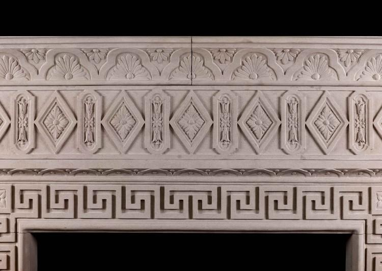 A LARGE ITALIAN LIMESTONE CHIMNEYPIECE WITH CLASSICAL GREEK KEY MOTIF-Detail2