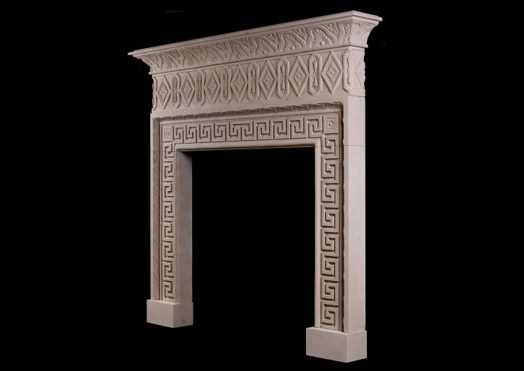 A LARGE ITALIAN LIMESTONE CHIMNEYPIECE WITH CLASSICAL GREEK KEY MOTIF-Detail5