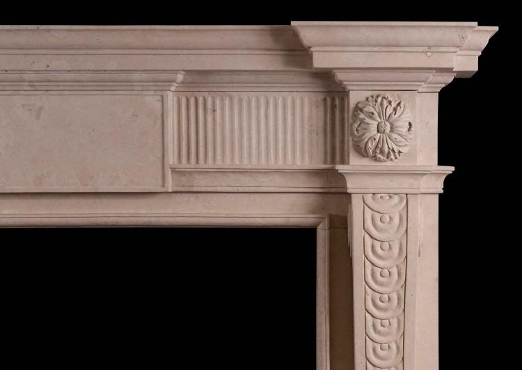 A GEORGE II STYLE LINCOLN STONE FIREPLACE-Detail1