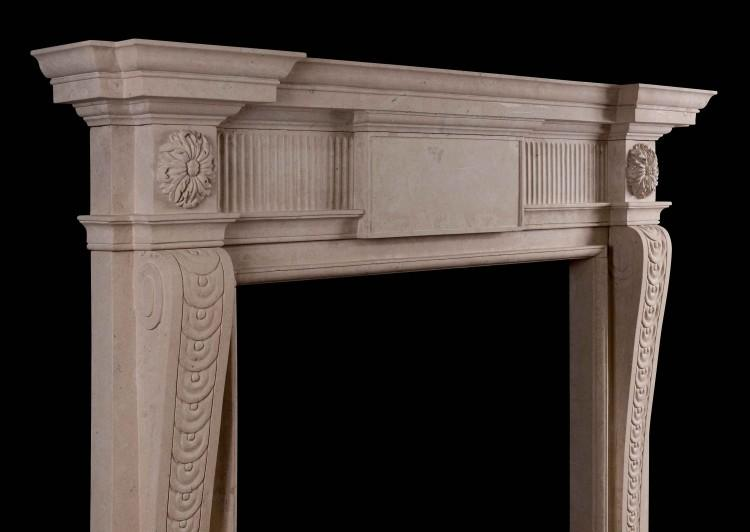 A GEORGE II STYLE LINCOLN STONE FIREPLACE-Detail3
