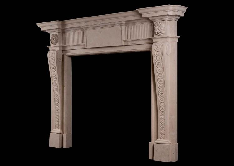A GEORGE II STYLE LINCOLN STONE FIREPLACE-Detail4