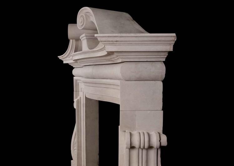 A DRAMATIC ENGLISH PORTLAND STONE FIREPLACE IN THE PALLADIAN MANNER-Detail1