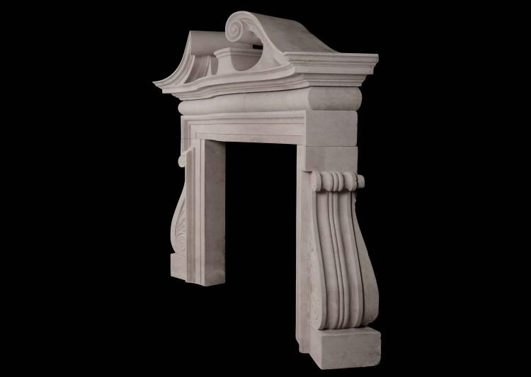 A DRAMATIC ENGLISH PORTLAND STONE FIREPLACE IN THE PALLADIAN MANNER-Detail3