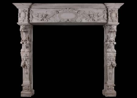 A CARVED STONE RENAISSANCE FIREPLACE, 19TH CENTURY