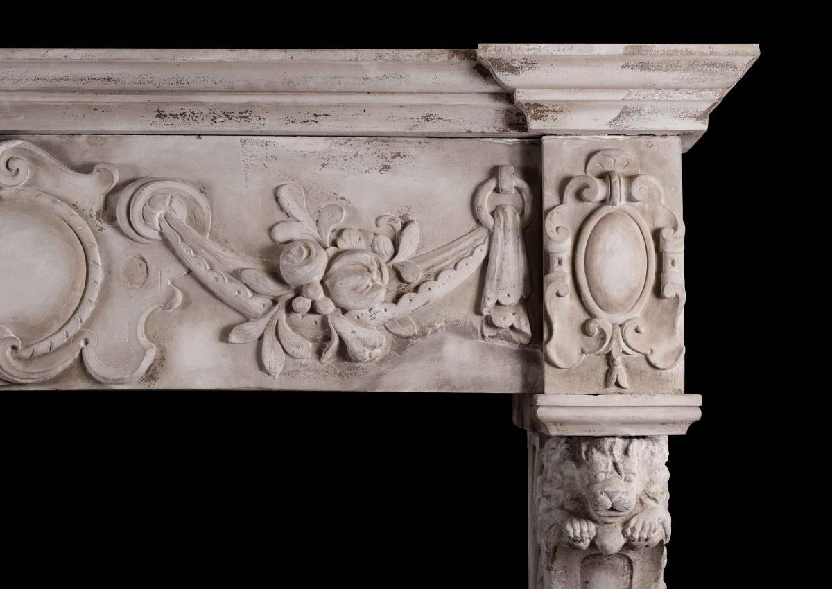 A CARVED STONE RENAISSANCE FIREPLACE, 19TH CENTURY-Detail3