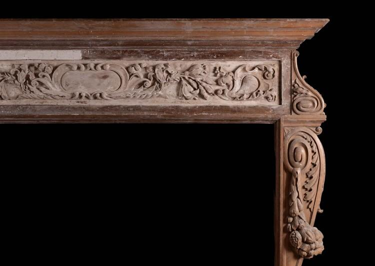 A LARGE AND RUSTIC ANTIQUE WOOD FIREPLACE WITH CARVED FRUIT AND FOLIAGE-Detail1