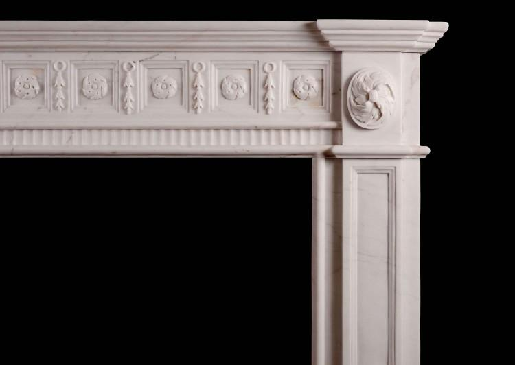 AN IRISH GEORGIAN STYLE WHITE MARBLE FIREPLACE-Detail1
