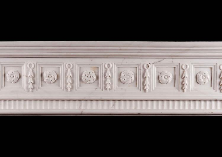 AN IRISH GEORGIAN STYLE WHITE MARBLE FIREPLACE-Detail2