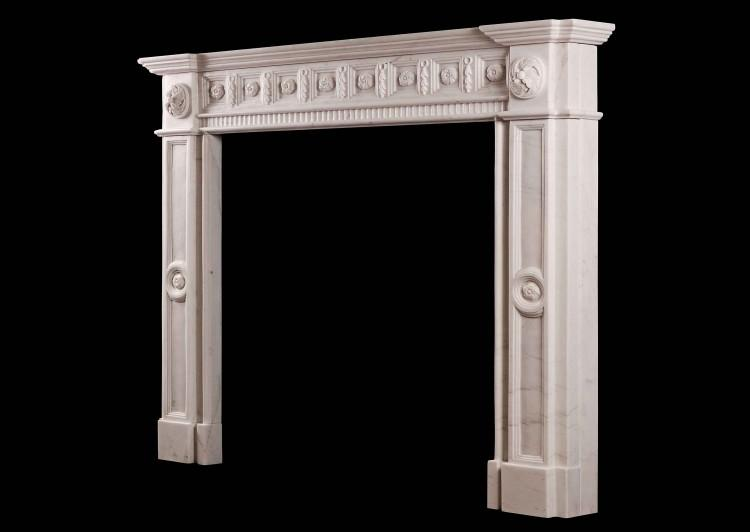 AN IRISH GEORGIAN STYLE WHITE MARBLE FIREPLACE-Detail4
