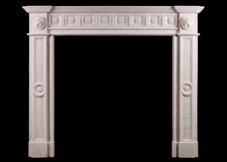 AN IRISH GEORGIAN STYLE WHITE MARBLE FIREPLACE