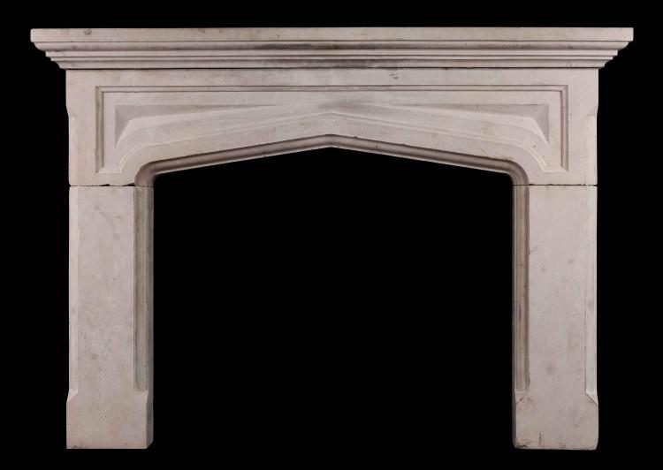 An English Limestone Gothic Revival fireplace