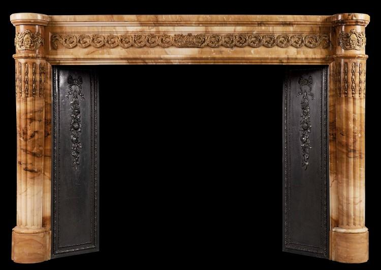 An impressive Siena French Marble Fireplace with Ormolu Enrichments