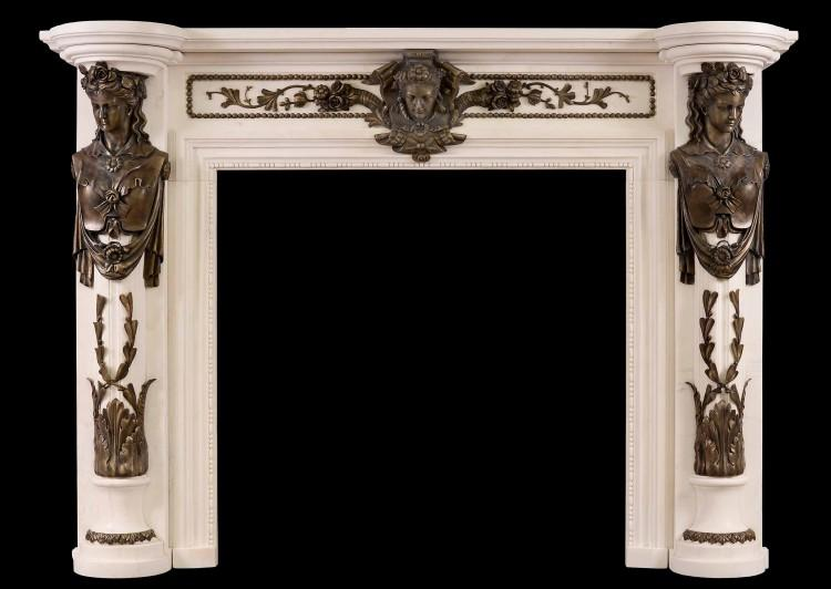 A Regency Style fireplace in white marble with bronze adornments