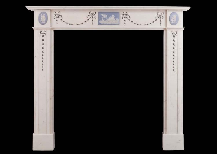 An early 20th century Jasperware and Statuary marble fireplace