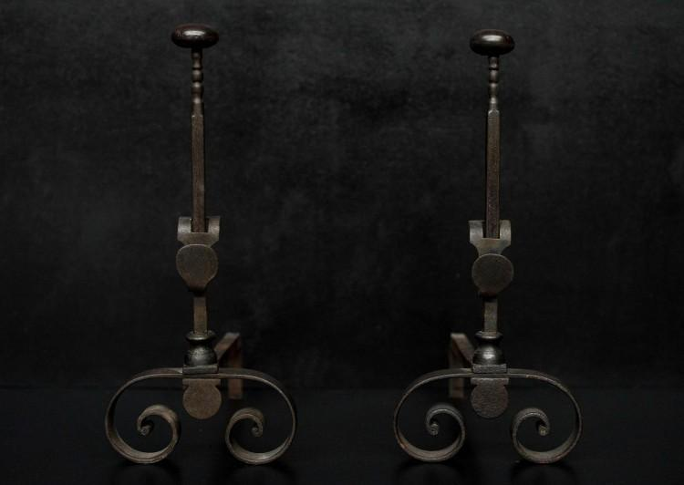 Wrought iron French firedogs